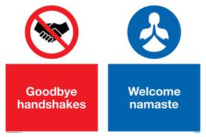 Goodbye handshakes Welcome namaste