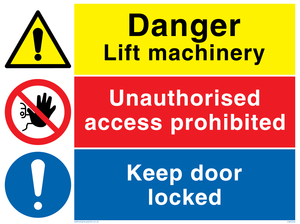 Danger Lift machinery