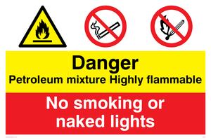 Petrol mixture flammable sign