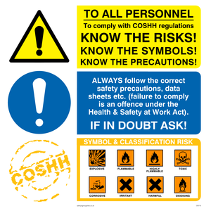 COSHH regs know the risks sign