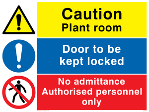 Plant room combination sign
