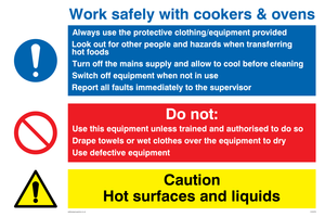 Work safely with cookers and oven