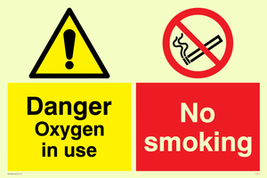 No smoking Oxygen in use Combination Sign