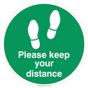 Please keep your distance - Green/white