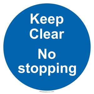 Keep Clear No stopping - blue background