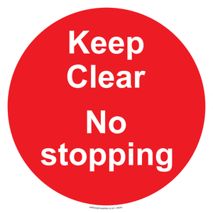 Keep Clear No stopping - red background