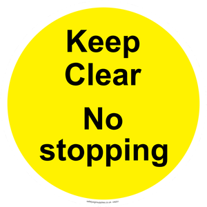 Keep Clear No stopping - yellow background