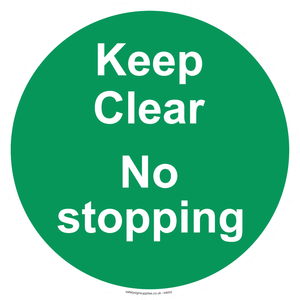 Keep Clear No stopping - green background