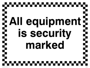 All equipment is security marked