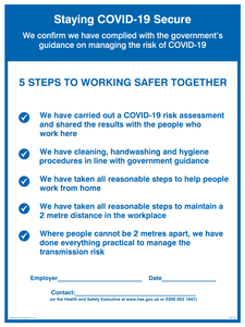 Staying COVID-19 Secure 5 Steps to working safer together