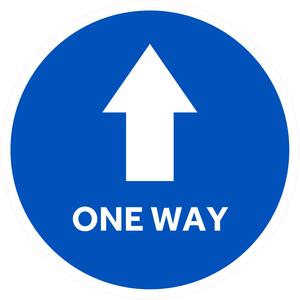Blue with white arrow one way