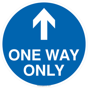One way only with up directional arrow