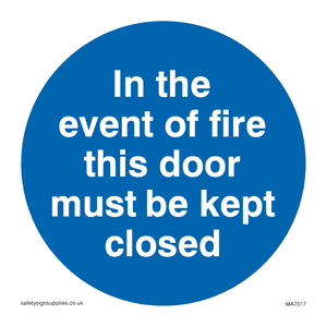In the event of fire this door must be kept closed
