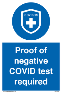 Proof of negative COVID test required