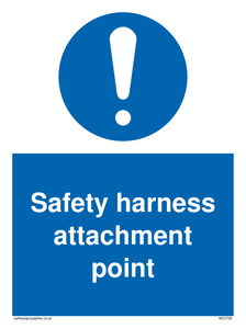 Safety harness attachment point Mandatory Sign