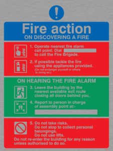 Pictorial fire action (lifts)