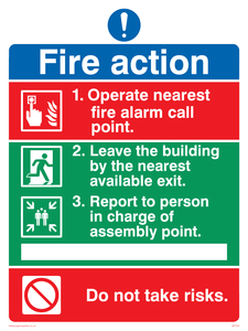 Pictorial fire action no lifts sign
