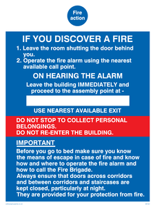 fire action if you discover a fire for hotel/guest house
