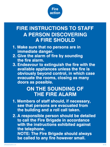 fire action fire instructions to staff