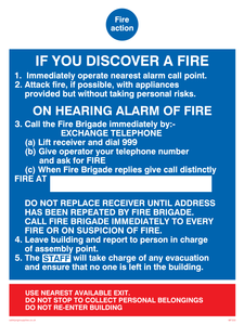 fire action if you discover a fire for hospitals