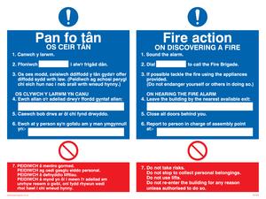 Fire Action sign - bi-lingual Welsh