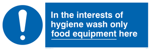 Wash only food equipment here
