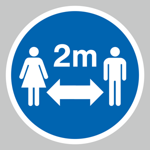 Keep 2m distance symbol floor graphic