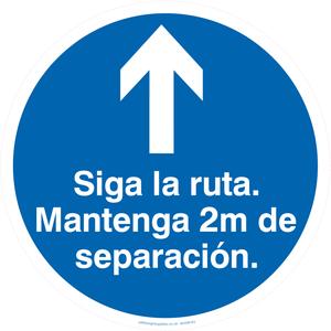 Siga la ruta Mantenga 2m de separacion.