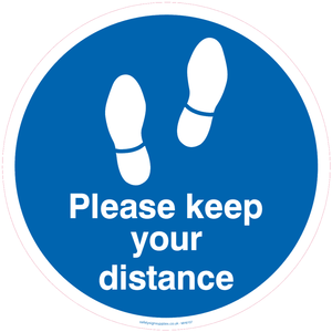 Please keep your distance - Blue/white