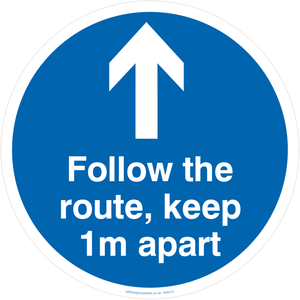 Follow the route, keep 1m apart