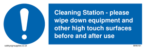Cleaning Station - please wipe down equipment and other high touch surfaces before and after use