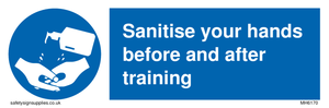 Sanitise your hands before and after training