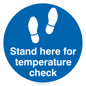 Stand here for a temperature check - floor graphic