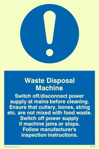 waste disposal machine rules