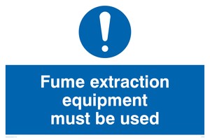 fume extraction equipment must be used