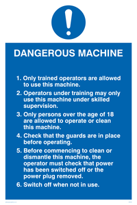 dangerous machine safety notice
