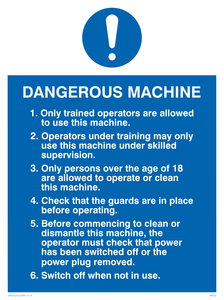 dangerous machine safety notice