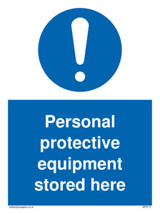 Personal protective equipment stored here Mandatory Sign