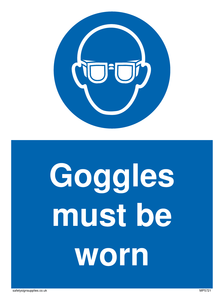 Goggles must be worn Mandatory Sign