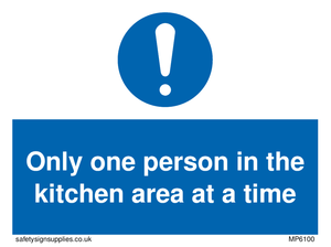 Only one person in the kitchen area at a time