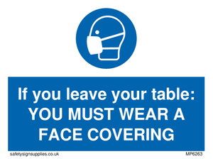 If you leave your table: YOU MUST WEAR A FACE COVERING