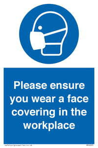 Please ensure your wear a face covering in the workplace