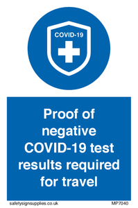 Proof of negative COVID-19 test results required for travel