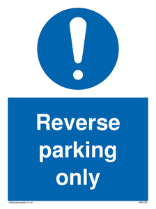 Reverse parking only Mandatory Sign