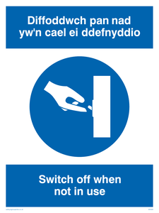 Switch off - bi-lingual Welsh