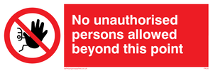 no unauthorised beyond point