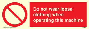 no loose clothing operating
