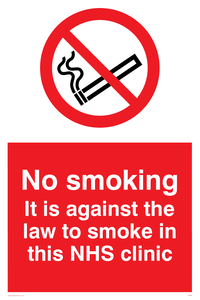 no smoking. it is against the law to smoke in this nhs clinic