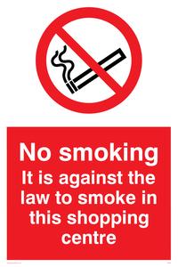 No smoking in shopping centre