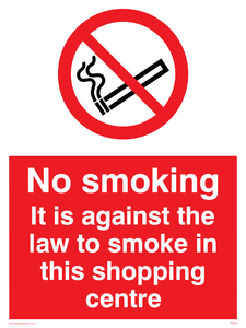 No smoking in shopping centre